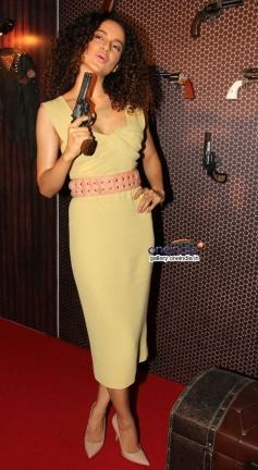 Kangna Ranaut poses with gun at press conference of film Revolver Rani