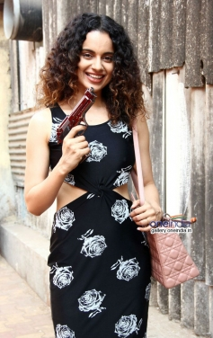 Kangna Ranaut snapped with gun at Filmalaya Studios