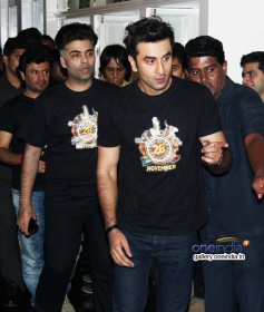 Karan Johar and Ranbir Kapoor at Bombay Velvet wrap up party