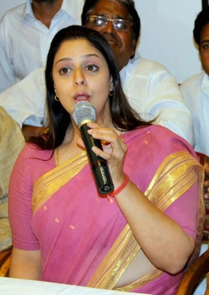 Nagma at a press conference in Meerut