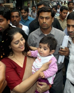 Nagma at a rally in Meerut