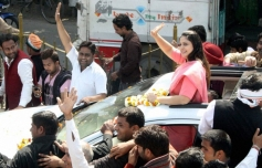 Nagma during a road show in Meerut
