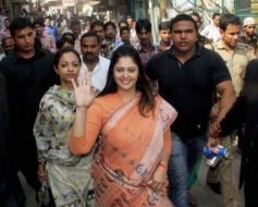 Nagma during her election campaign in Meerut