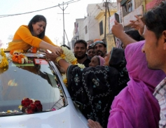 Nagma during her election road show in Meerut