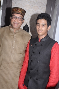 Nassar with his son Basha at Green Trends Hair and Style Salon launch