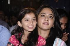 Sara Arjun with Anushka Shetty at Saivam audio launch