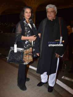 Shabana Azmi with husband Javed Akhtar leaves for IIFA awards 2014