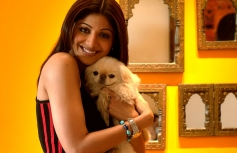 Shilpa Shetty poses with her pet dog