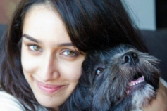 Shraddha Kapoor poses with her pet dog