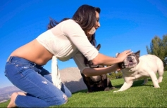 Sunny Leone poses with dog