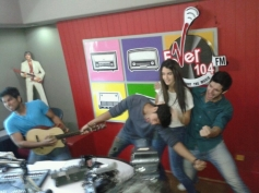 Tanuj Virwani, Aditya Seal and Izabelle Leite having fun at Fever 104 FM