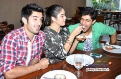 Tanuj Virwani, Aditya Seal and Izabelle Leite having lunch at Neel restaurant