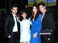 Tanushri Chattrji Bassu with actors Tanuj Virwani and Aditya Seal at Purani Jeans film music launch