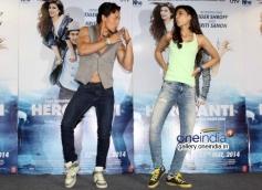 Tiger Shroff and Kriti Sanon at promotion of film Heropanti on World Dance Day