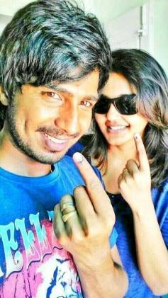 Vishnu with wife Rajini casted their Votes