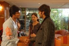 Arya, Jeeva and Anuya Bhagvath still from Rangam Modalaindi