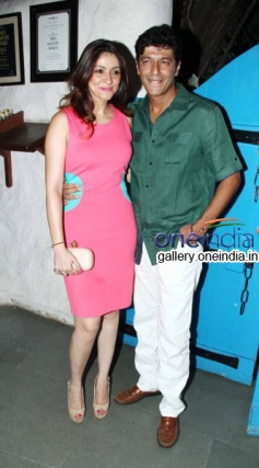 Chunky Pandey with wife at Heropanti Success Bash