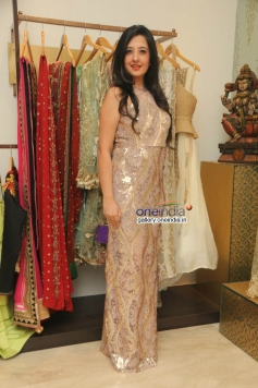 Designer at Amy Billimoria displays her eco friendly collection