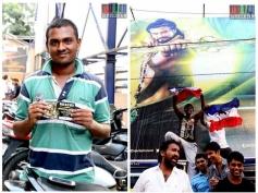 Fans Celebration for Kochadaiyaan Movie at Kaasi theater in Chenna