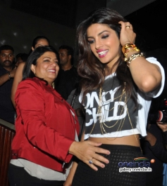 Priyanka Chopra with her mom Madhu Chopra at launch of her album I Can't Make You Love Me