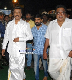 Rajinikanth and Ambareesh at Lingaa Movie Pooja Stills