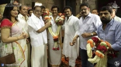 Rajinikanth, Rockline Venkatesh, Ambareesh and KS Ravikumar at Lingaa Movie Pooja Stills