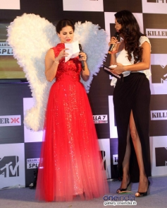 Sunny Leone with the Anchor at press conference of MTV Splits Villa