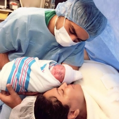 Veena Malik with her husband and new born daughter