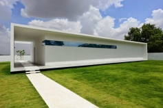 box-shaped home with a minimalist design