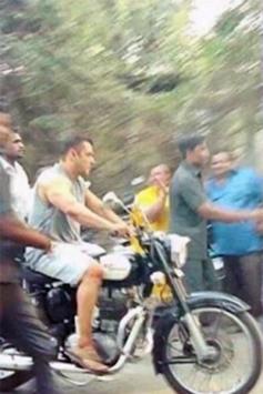 Salman Khan Spotted Driving Royal En-field