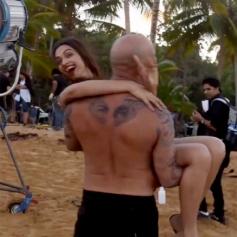 Deepika Padukone and Vin Diesel on the set fun