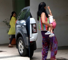 Genelia D'Souza Snapped at Her Residence with her Kid