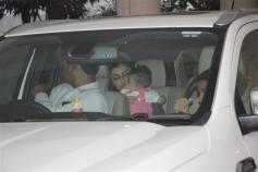 Soha Ali Khan With Daughter Spotted At Kareena's Mom House Bandra
