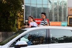 Sanjay Dutt Kids Snapped In Open Car