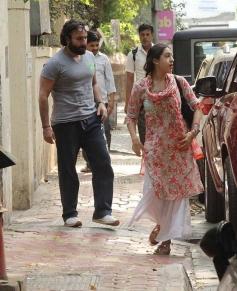 Saif Ali Khan with Daughter Sara At Ajay Kapoor Office