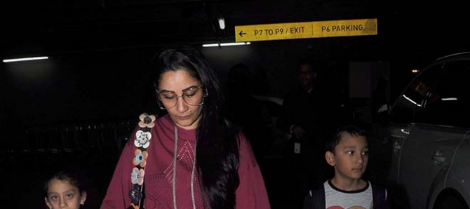 Manyata Dutt Spotted With Her Kids
