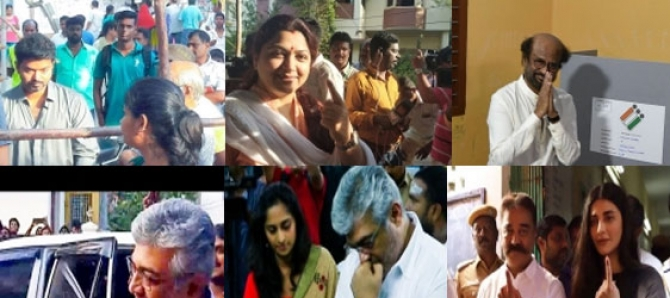 Tamil Celebrities Cast Their Vote For Lok Sabha Election 2019