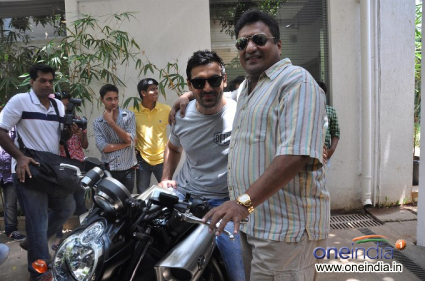 John Abraham Presents Yamaha Vmax Motorcycle to Sanjay Gupta Photos