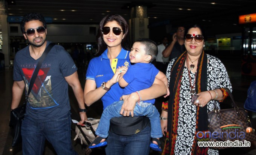 Shilpa Shetty With Her Son Viaan Snapped at Airport Photos