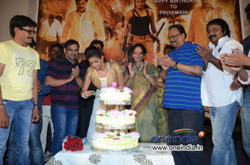 Priyamani Birthday celebration at Chandi Trailer Launch Photos
