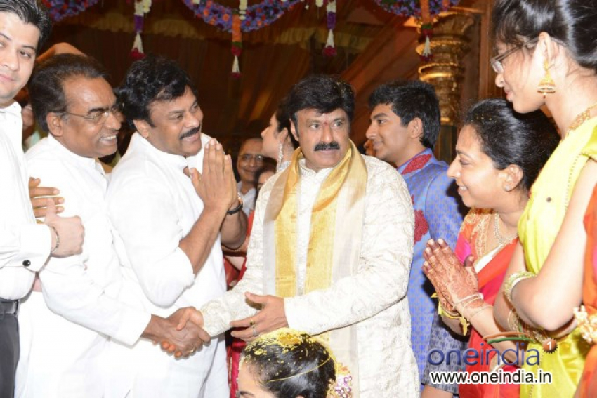 Chiranjeevi attended Balakrishna Daughter Tejaswini Wedding Photos