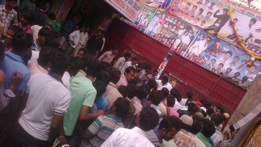 Actor Vijay fans celebration at Thalaivaa film screening Photos