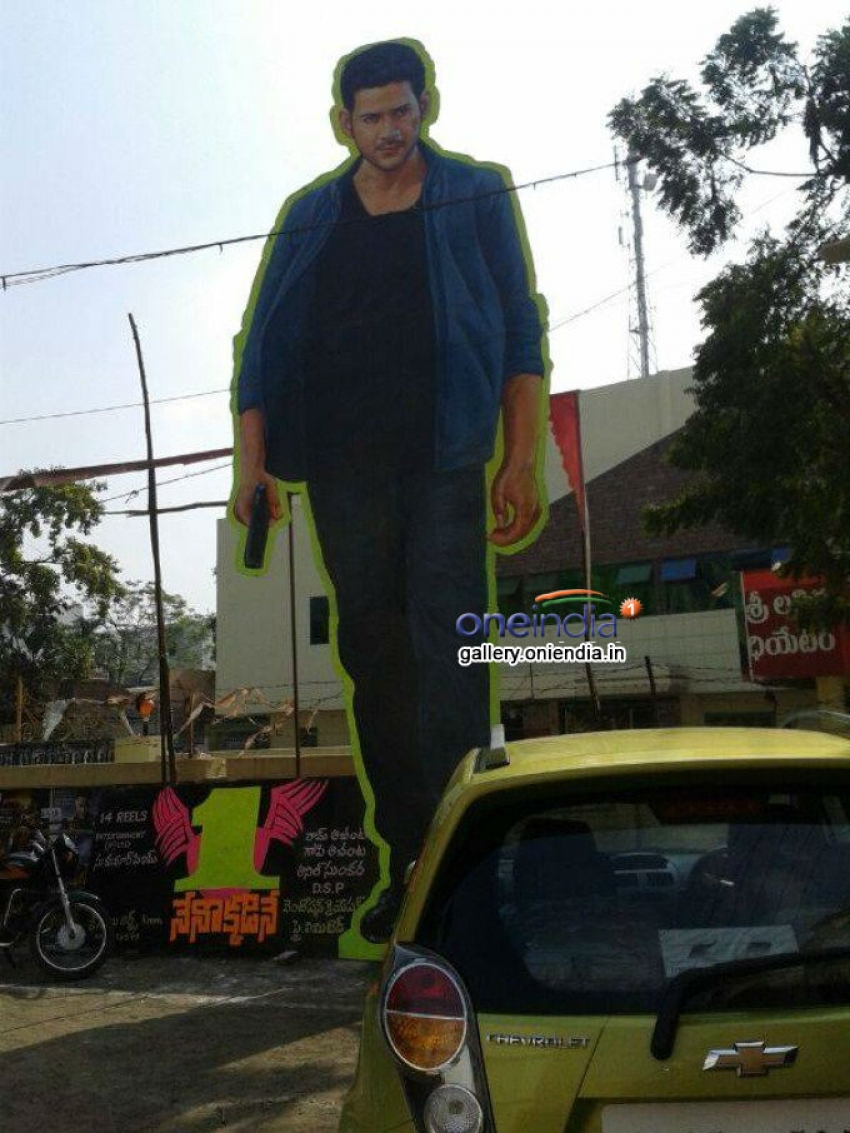 1 Nenokkadine Movie Celebration 100 Feet Cut Out Photos