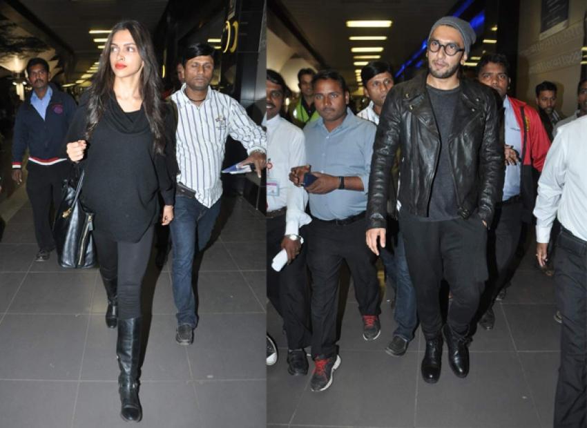 Deepika Padukone And Ranveer Singh Snapped At The Airport Photos