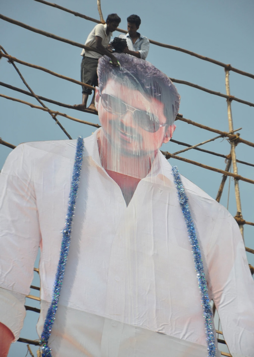 Jilla Movie Celebration 80 Feet Cut Out Photos