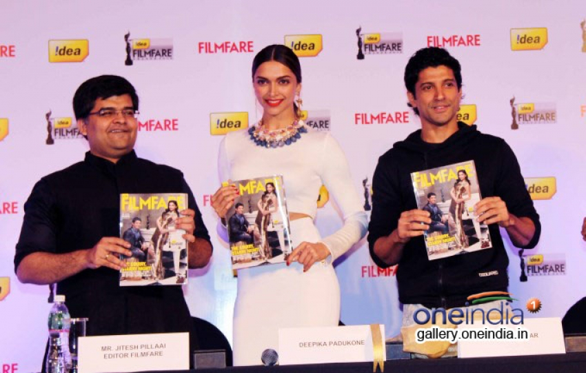 Deepika and Farhan launch Filmfare February 2014 cover page Photos
