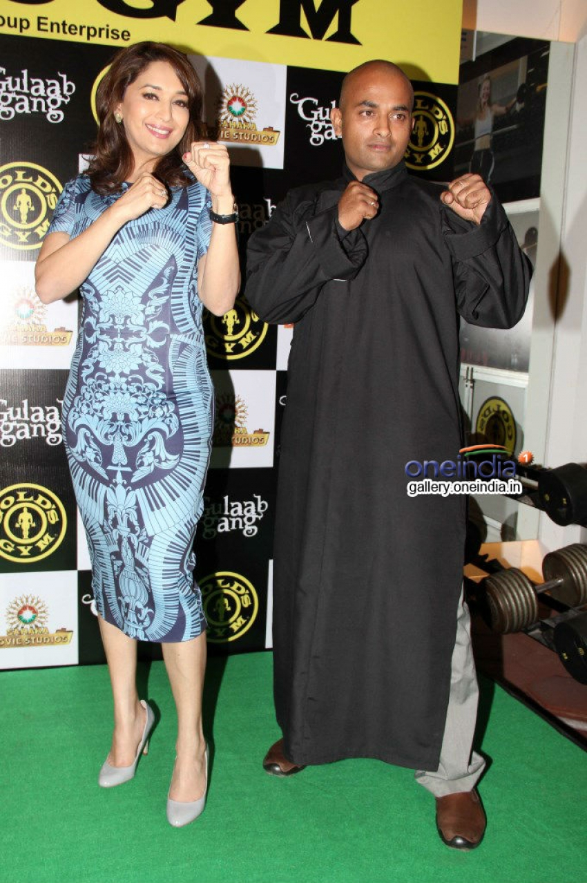 Madhuri Dixit promotes Gulaab Gang at Gold's Gym Photos