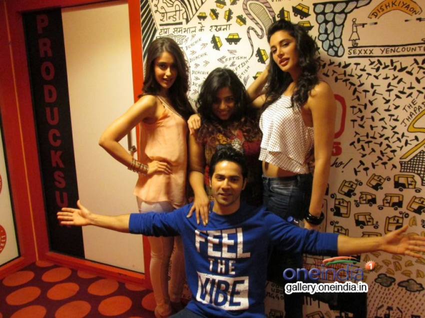 Varun Dhawan, Ileana D'Cruz and Nargis Fakhri at 93.5 RED FM studios Photos