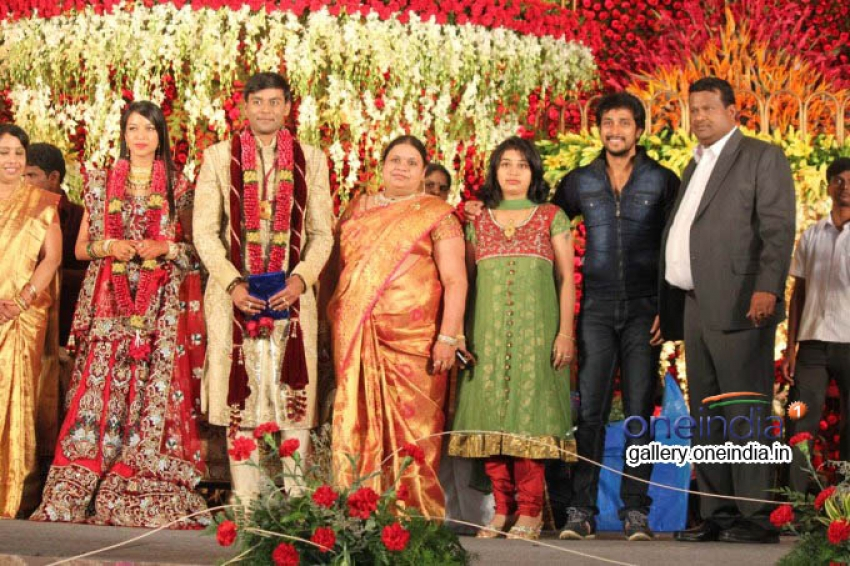 SV Babu son Sanjay Babu marriage reception with Soundarya Photos
