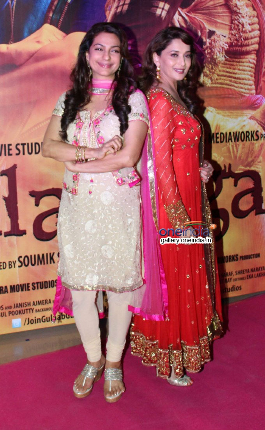 Madhuri Dixit and Juhi Chawla at special screening of Gulaab Gang Photos